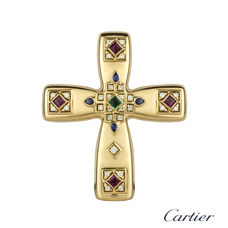 Cartier 18k yellow gold multi stone byzantine cross pendant brooch cartier 18k yellow gold multi stone byzantine cross pendant brooch mozeypictures Image collections